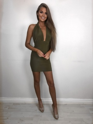 Lex backless khaki dress