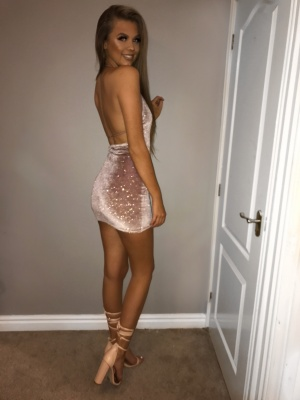 Inga nude glitter opened back dress