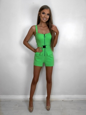 Eliana neon green pocket detail playsuit