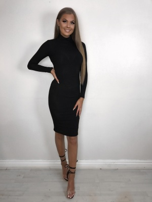 Sia Black Ribbed Tube Dress