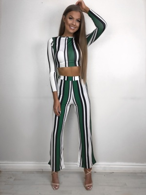 Sophie green stripe 2 piece set