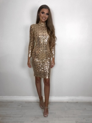 Alexis gold sequin opened back dress