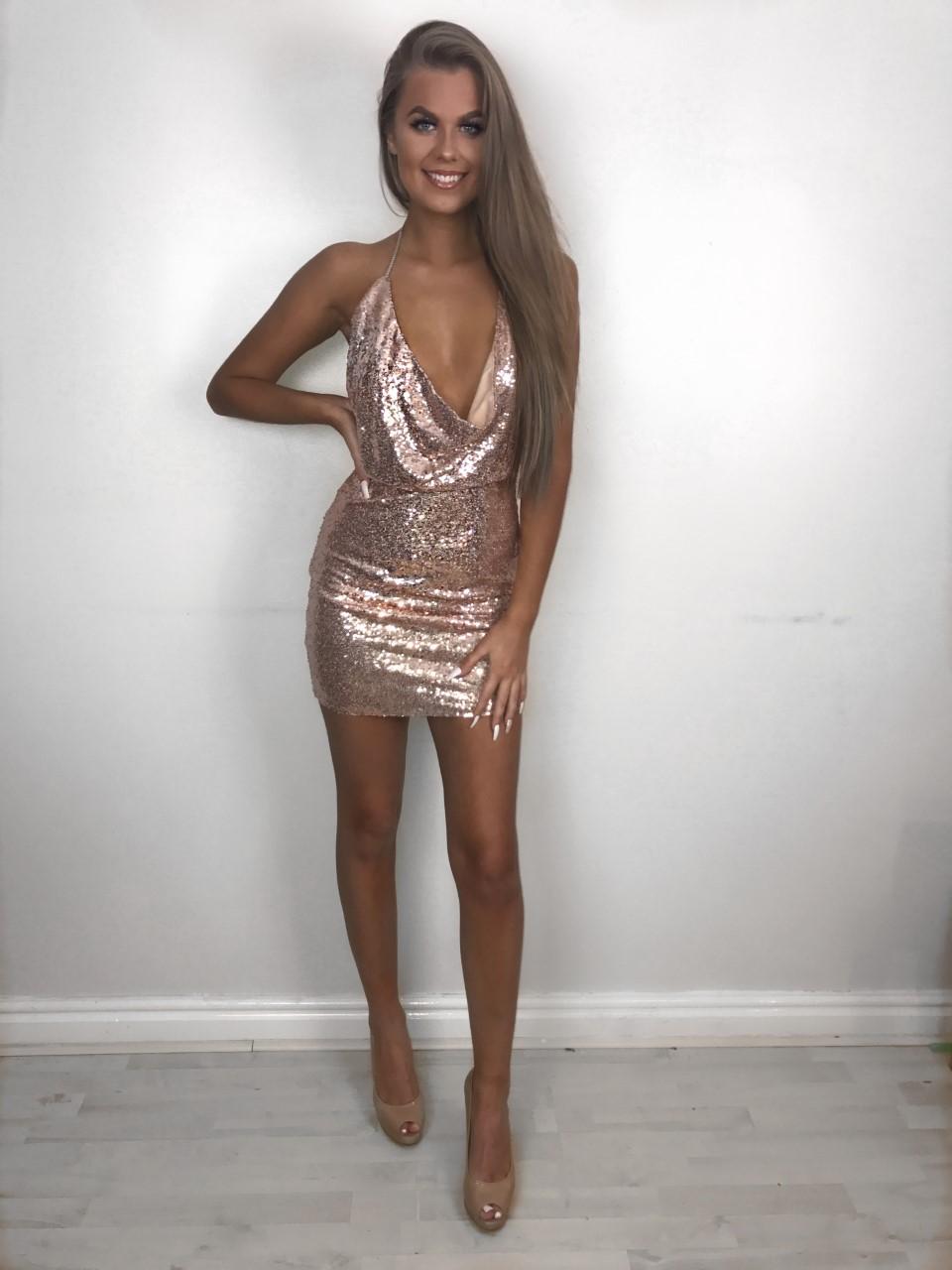 Sequin Backless Dress