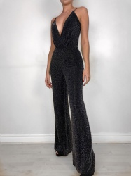 Niamh black shimmer cross over cord jumpsuit