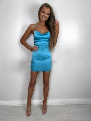 Valentina blue opened back satin dress