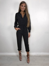 Thea Black Faux Suede Jumpsuit