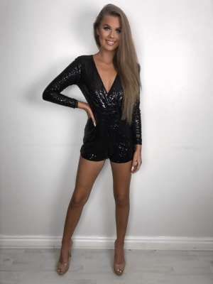 Ruby black sequin playsuit