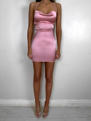 Valentina pink opened back satin dress