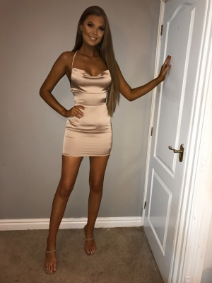 Valentina nude opened back satin dress