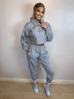 Mae crop top grey lounge set