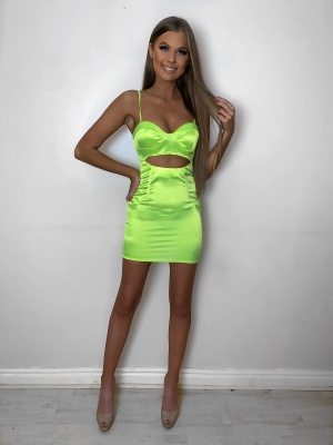 Lissy neon lime cut out pocket detail dress