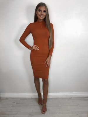 Sia Orange Ribbed Tube Dress