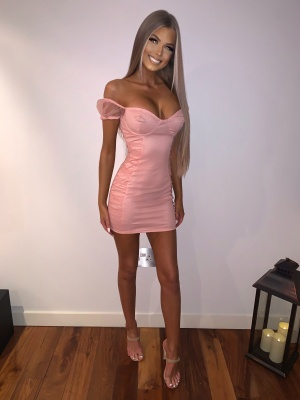 Leonora pink off the shoulder dress