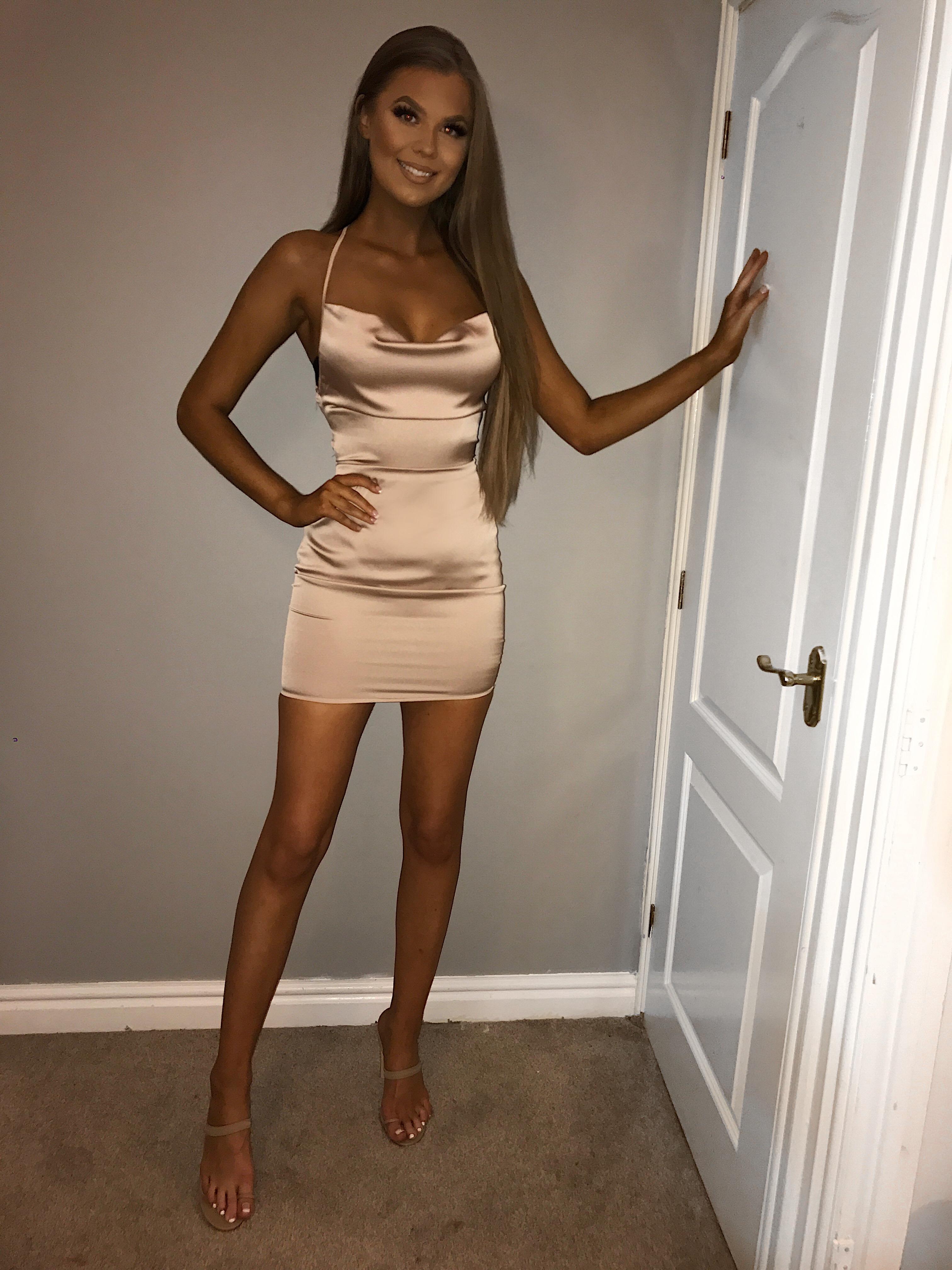Valentina nude opened back satin dress - svlabel.com