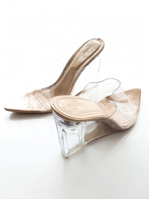 Tilly nude high wedge shoes