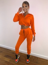 Audrey orange crop sweat and jogger set