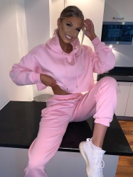 Mae crop top pink lounge set