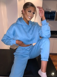 Mae crop top blue lounge set