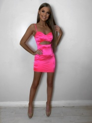 Lissy neon pink cut out pocket detail dress